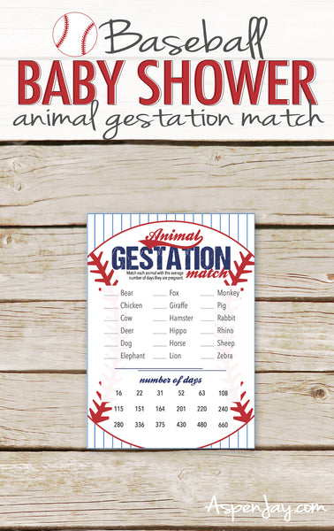 Baseball Animal Gestation Match