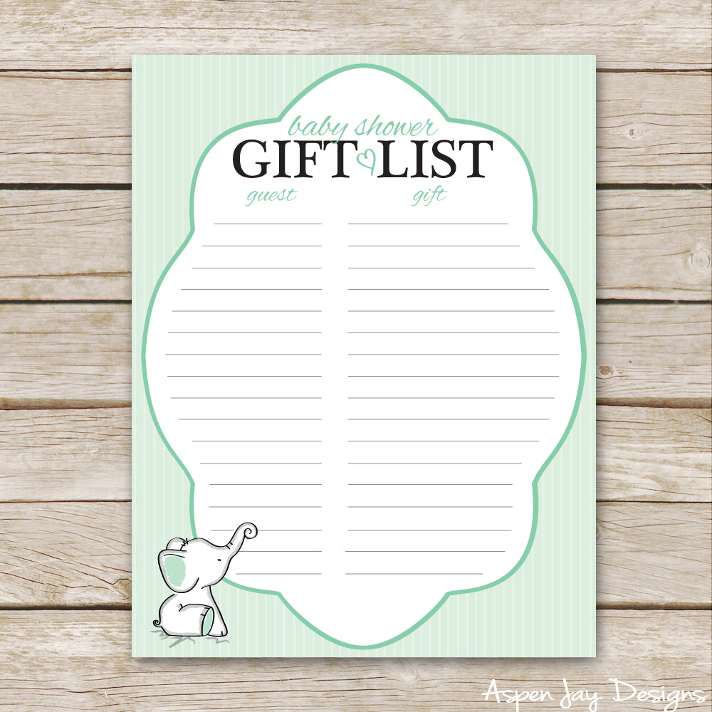 Green Elephant Shower Gift List