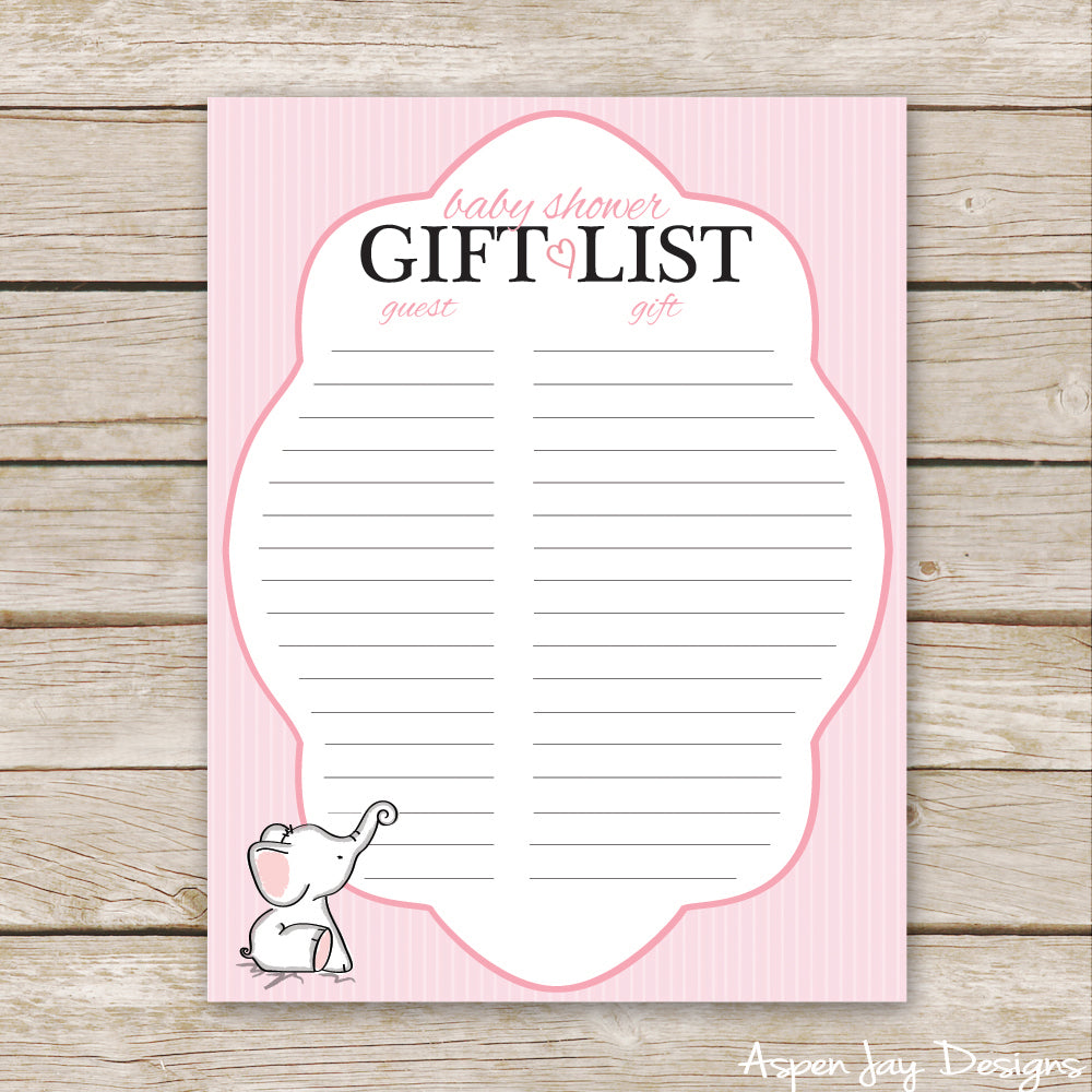 Pink Elephant Shower Gift List