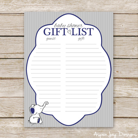 Navy Elephant Shower Gift List