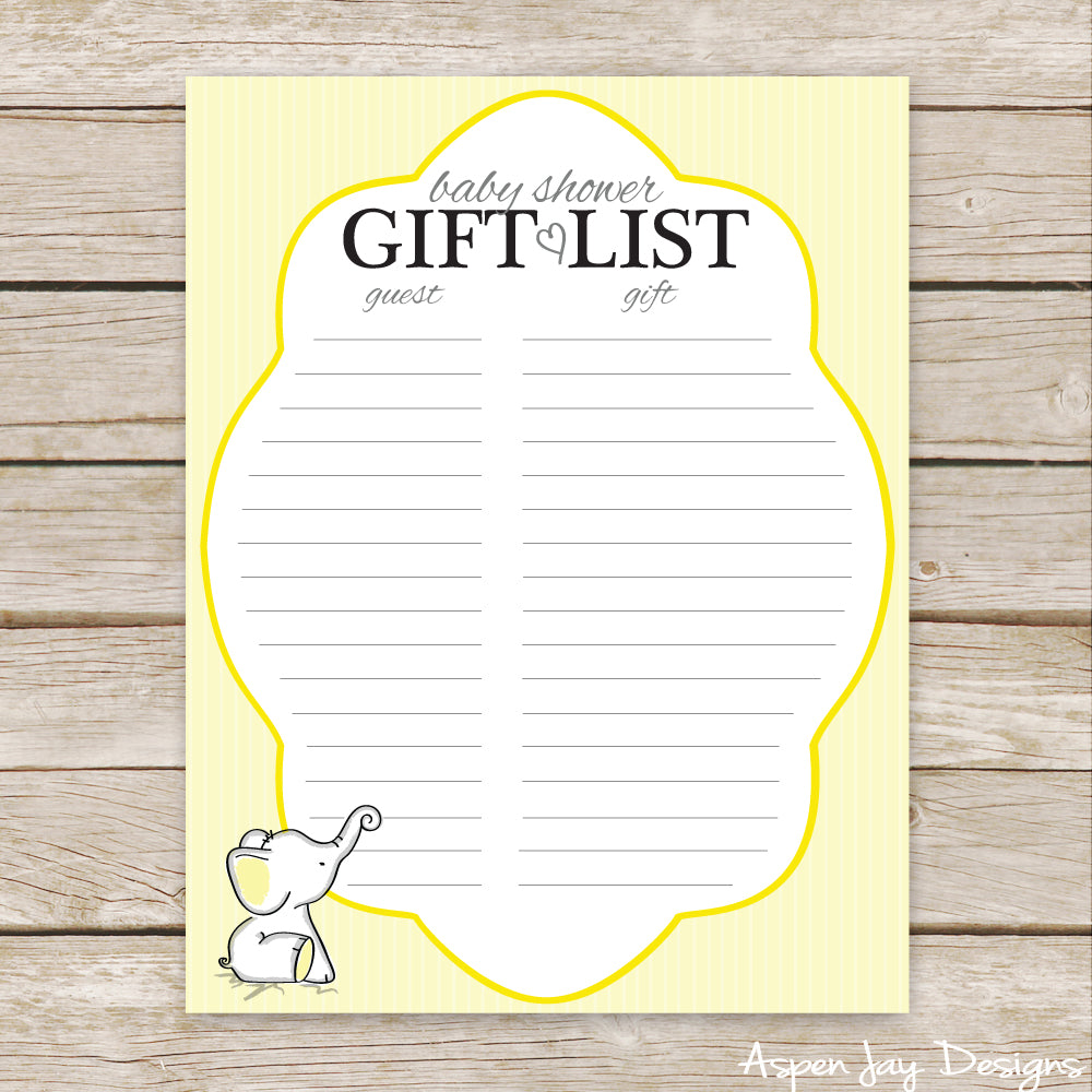 Yellow Elephant Shower Gift List