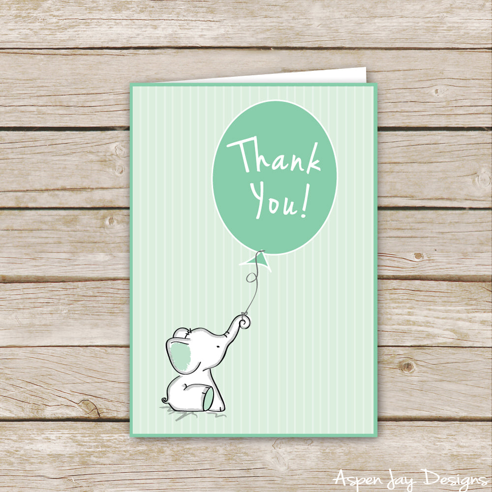 Green Elephant Thank You Cards
