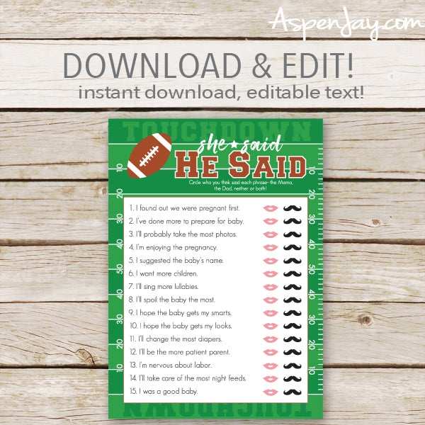 Football He Said She Said - editable text