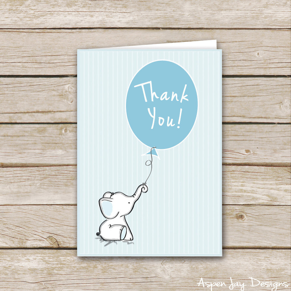Blue Elephant Thank You Cards