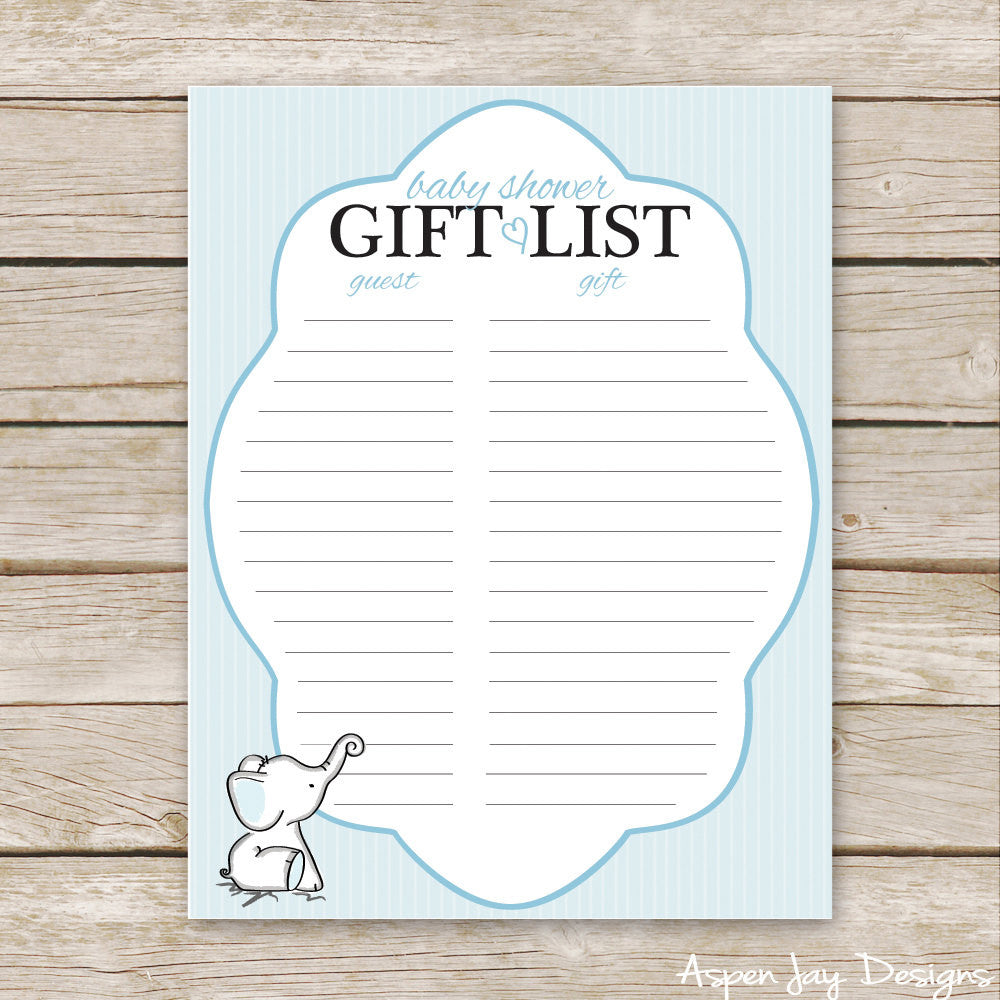Blue Elephant Shower Gift List