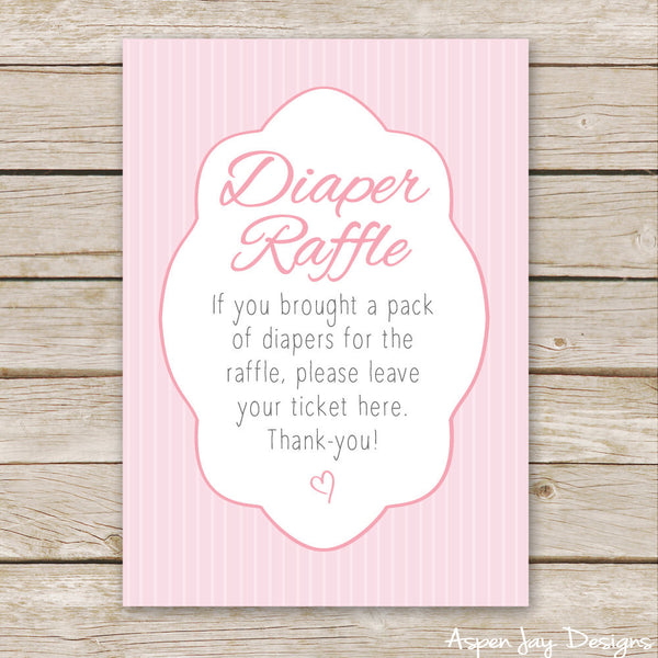 Pink Elephant Diaper Raffle Tickets & Sign