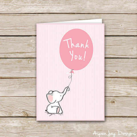 Pink Elephant Thank You Cards