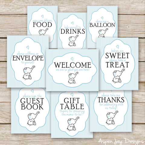 Blue Elephant Baby Shower Signs
