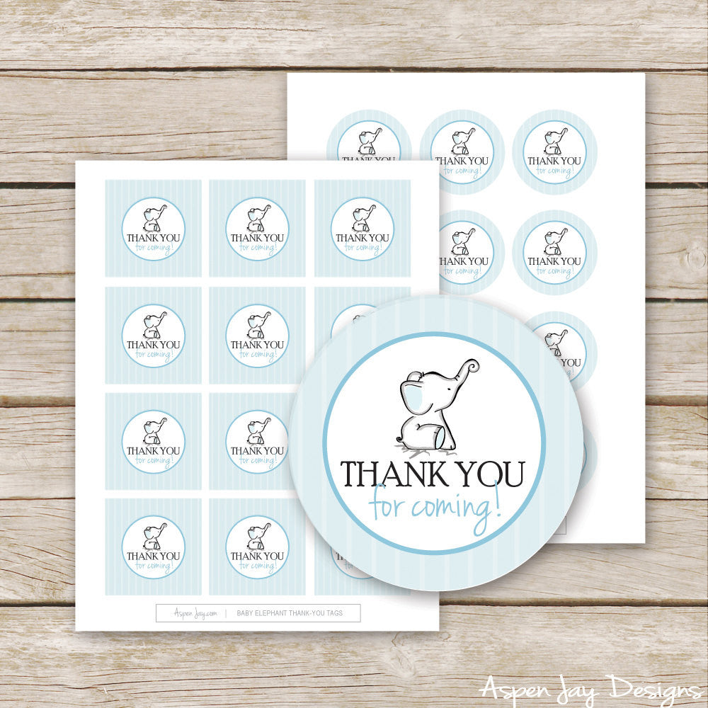 Blue Elephant Thank You Tags
