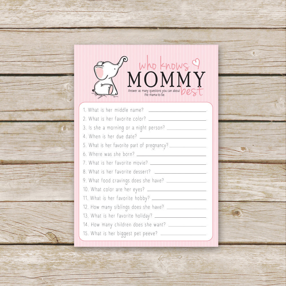 Pink Elephant Who Knows Mommy Best