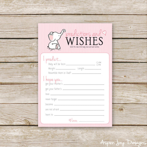 Pink Elephant Predictions & Wishes for Baby