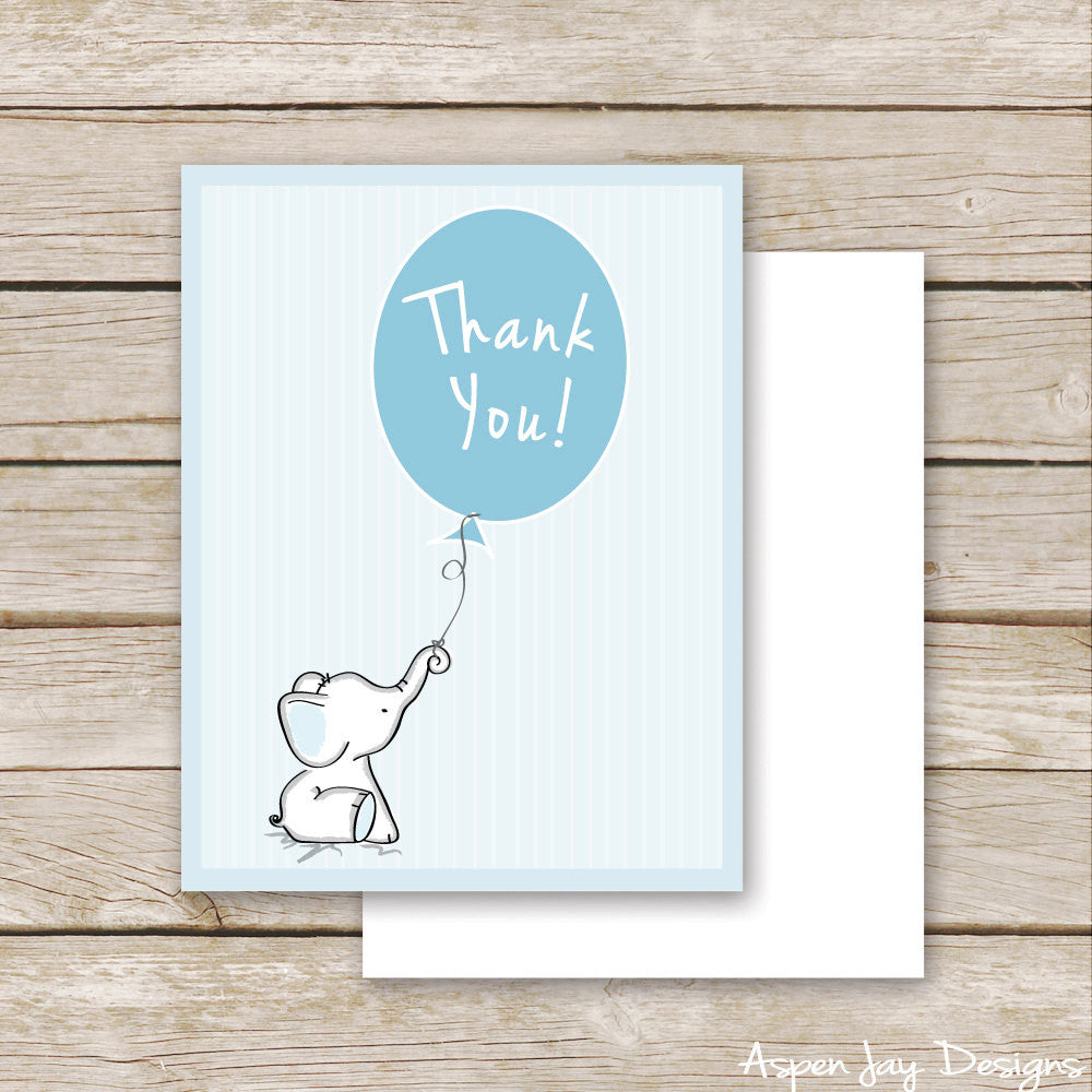 Blue Elephant Thank You Postcard