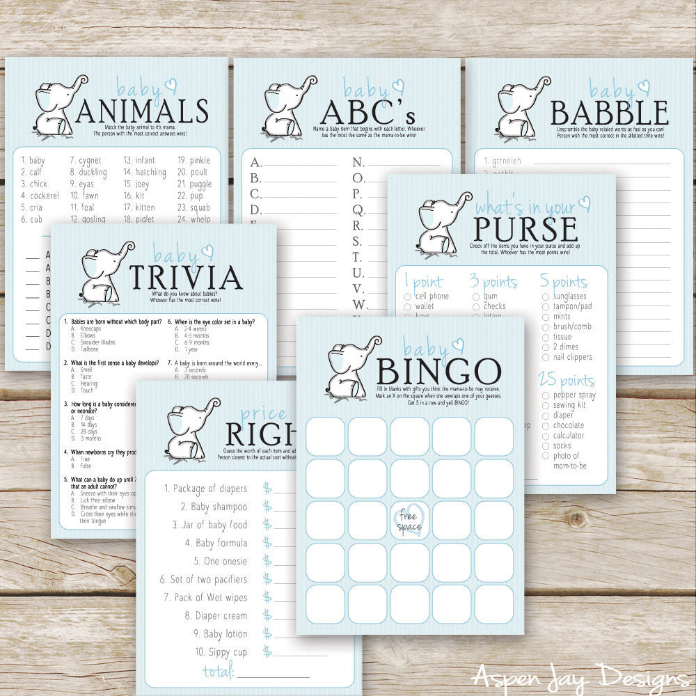 Blue Elephant 7 Baby Shower Games Package