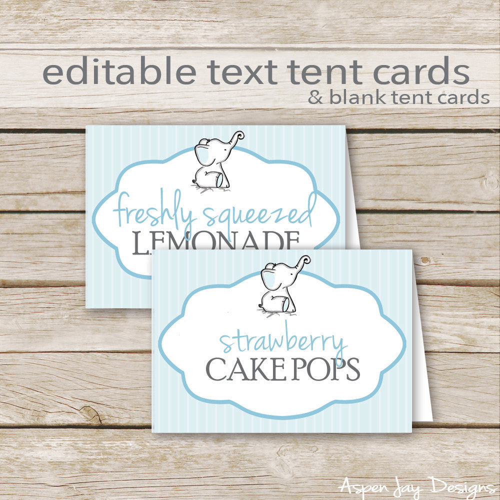 Editable Blue Elephant Party Labels