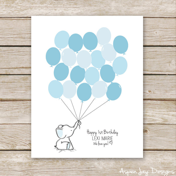 Blue Elephant Balloon Guest Book