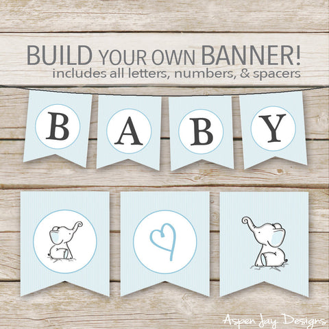 Blue Elephant Banner - ALL Letters & Numbers