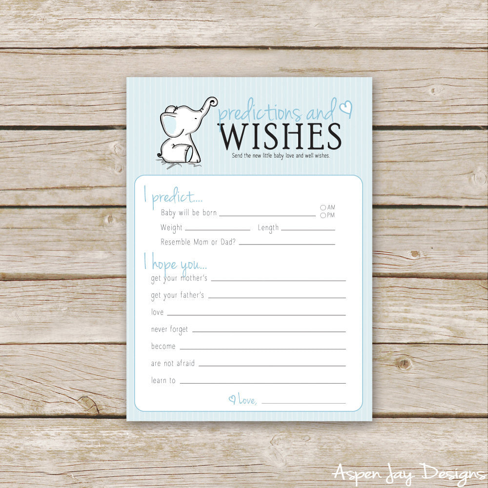 Blue Elephant Predictions & Wishes for Baby