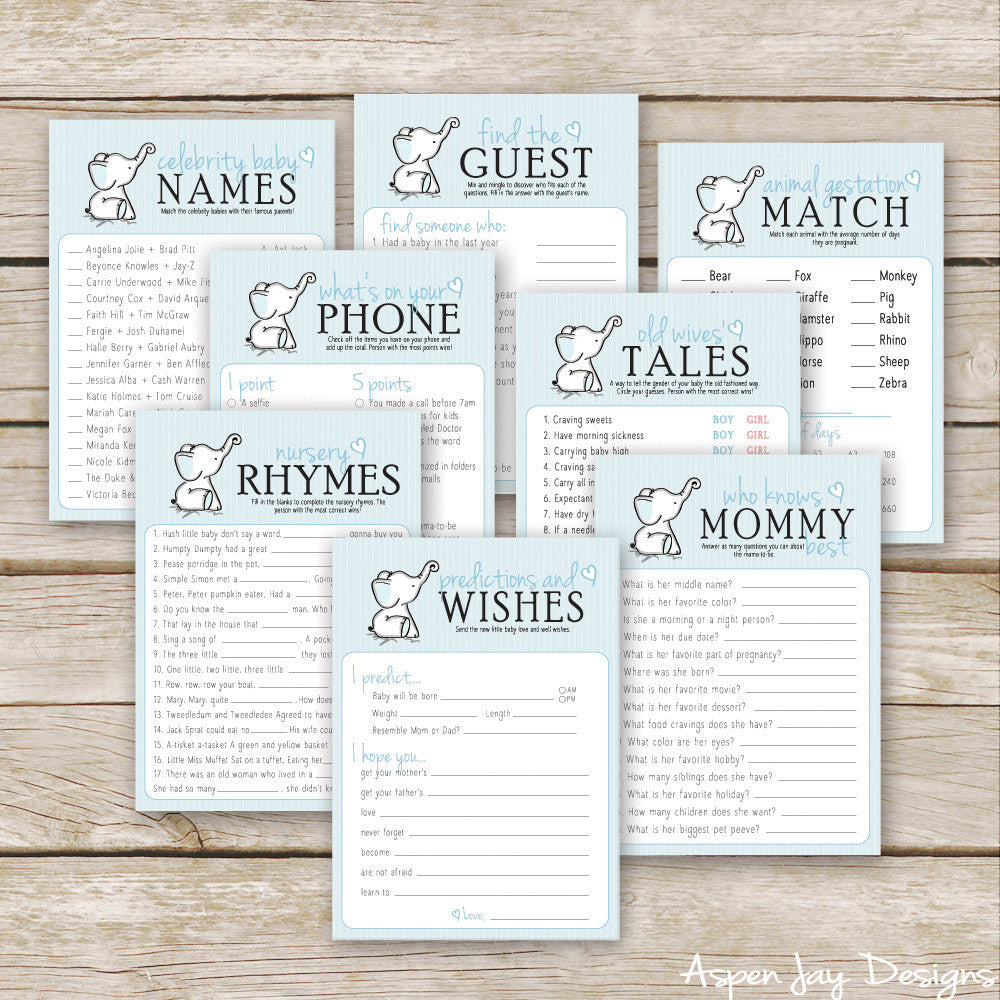 Blue Elephant 8 Baby Shower Games Package