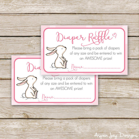 Pink Bunny Diaper Raffle Tickets & Sign