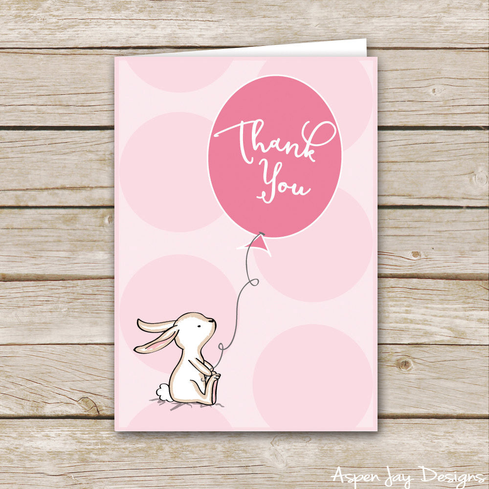 Pink Bunny Thank You Cards