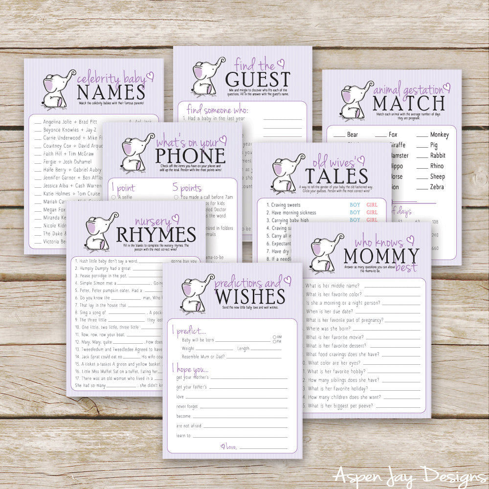 Purple Elephant 8 Baby Shower Games Package