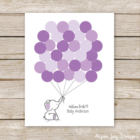 Purple Elephant Balloon Guest Book