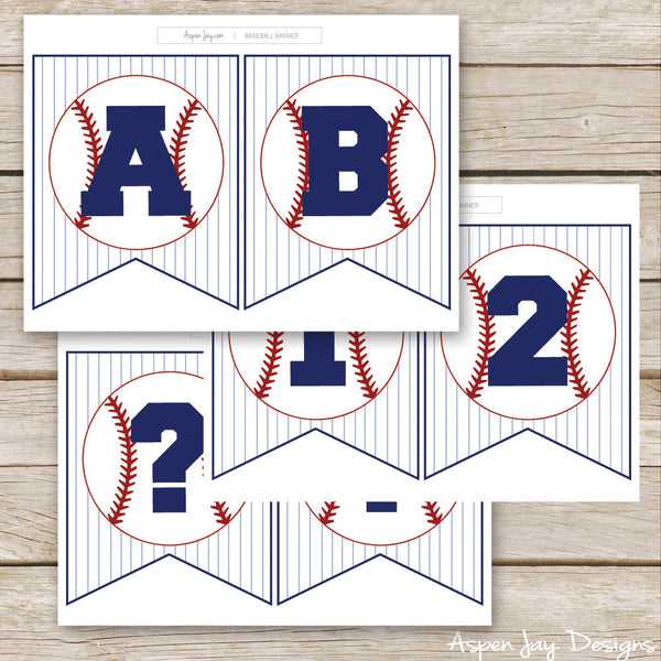 Baseball Banner - ALL Letters & Numbers