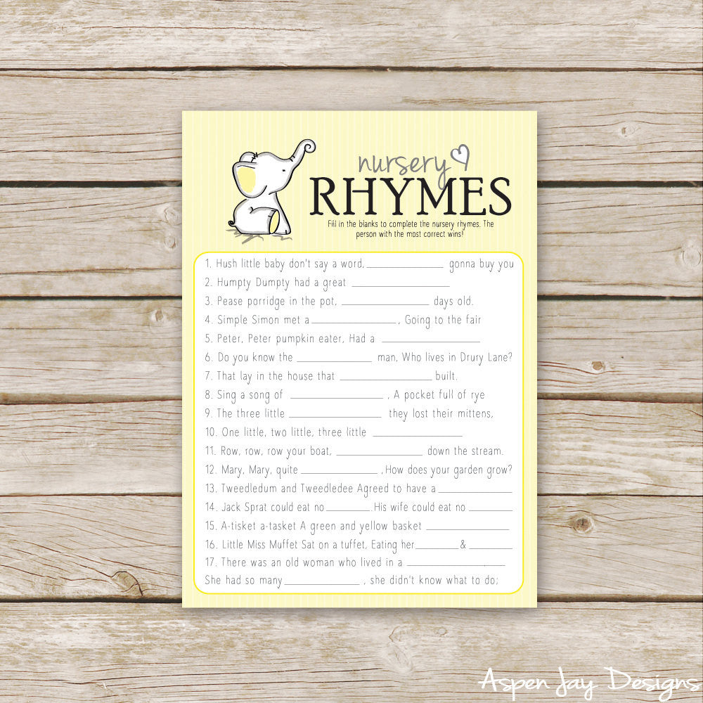 Yellow Elephant Nursery Rhymes