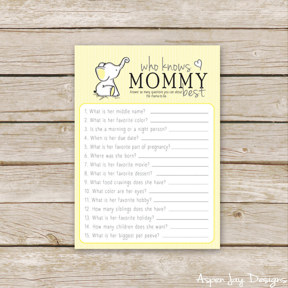 Yellow Elephant Who Knows Mommy Best