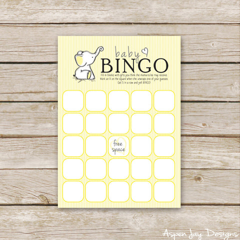 Yellow Elephant Baby Bingo