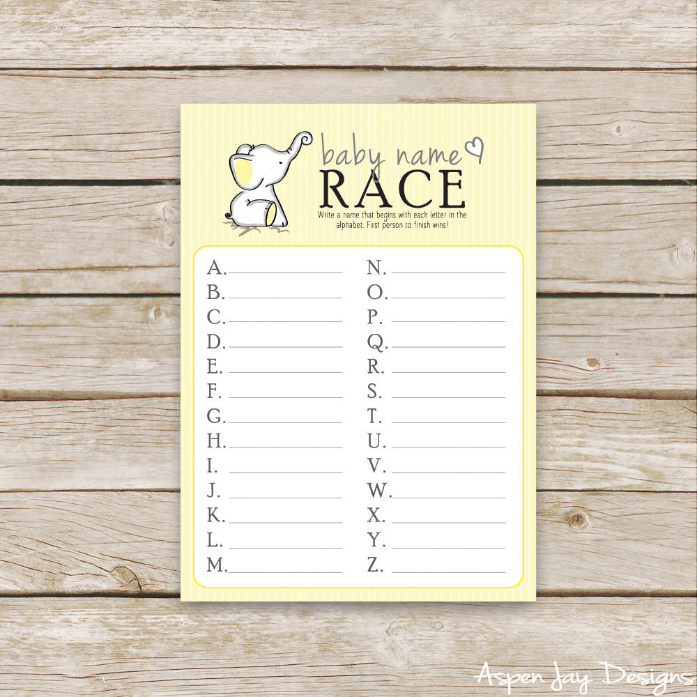 Yellow Elephant Baby Name Race