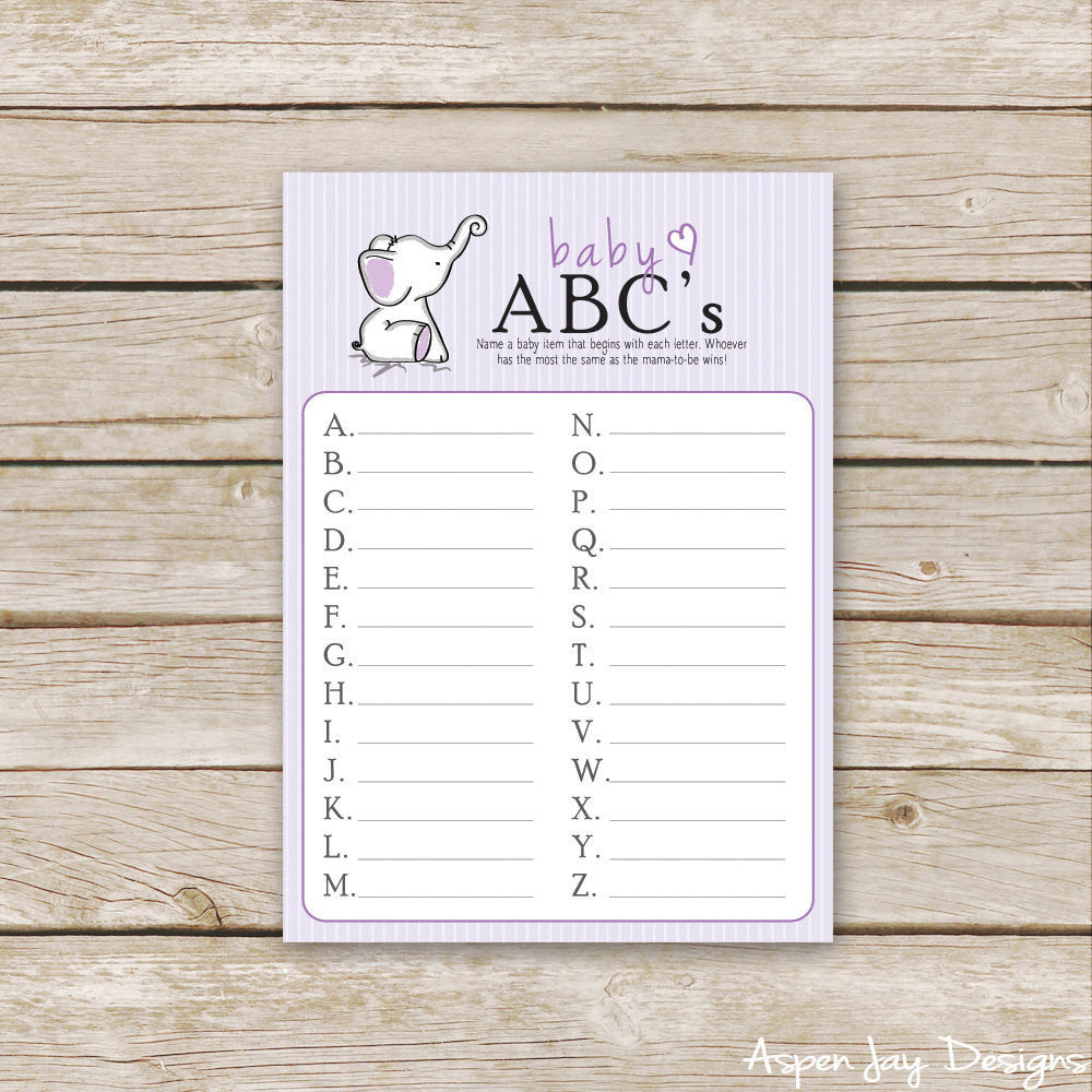 Purple Elephant Baby ABC's