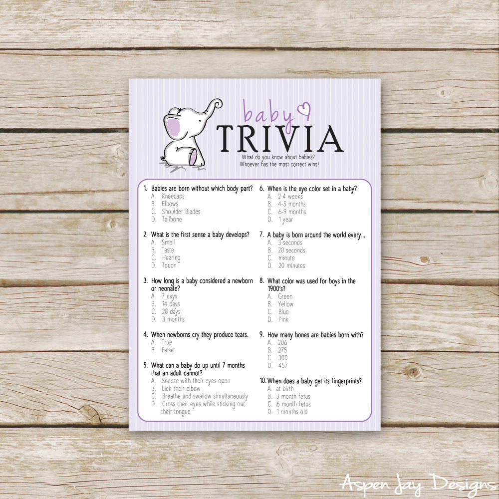 Purple Elephant Baby Trivia