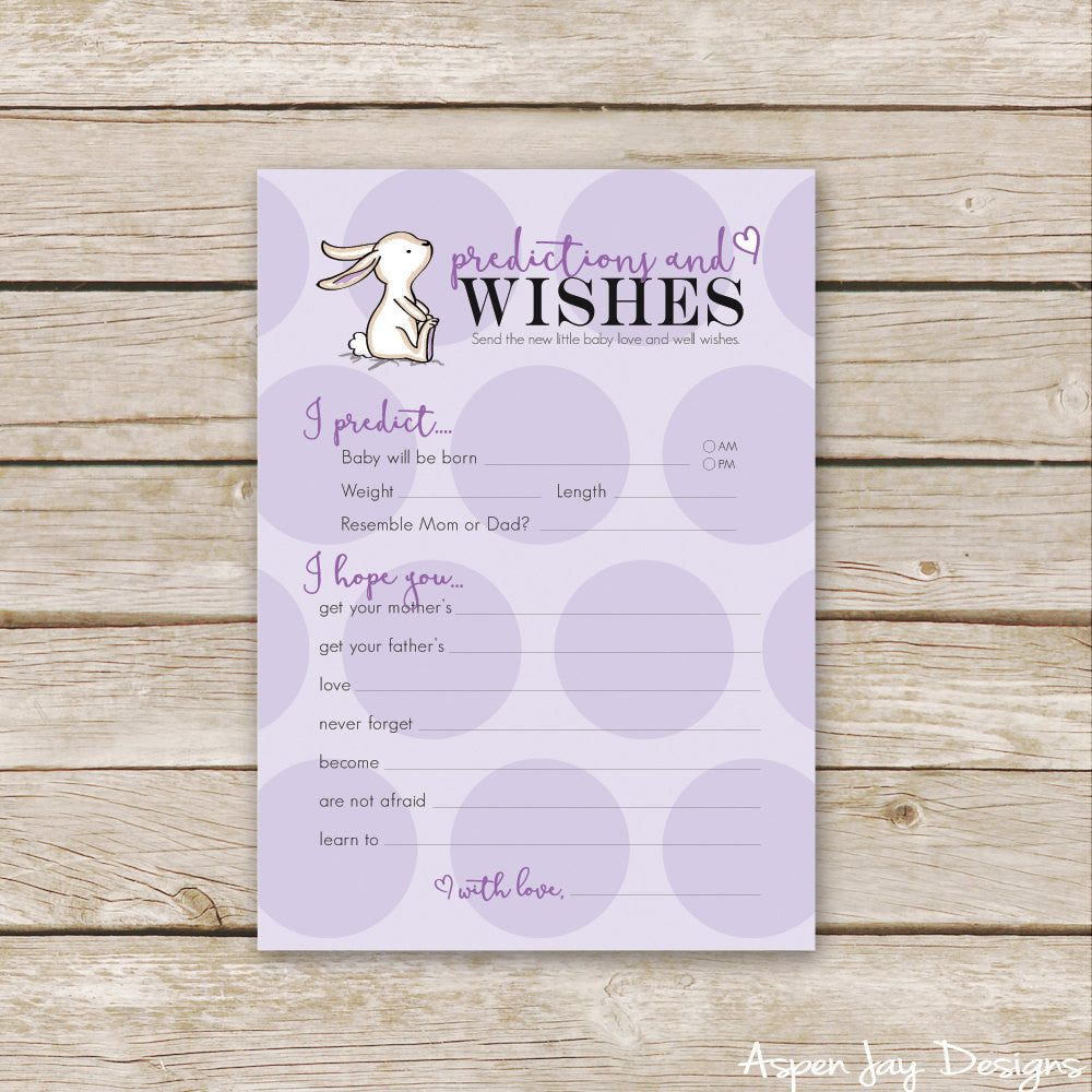 Purple Bunny Predictions & Wishes for Baby