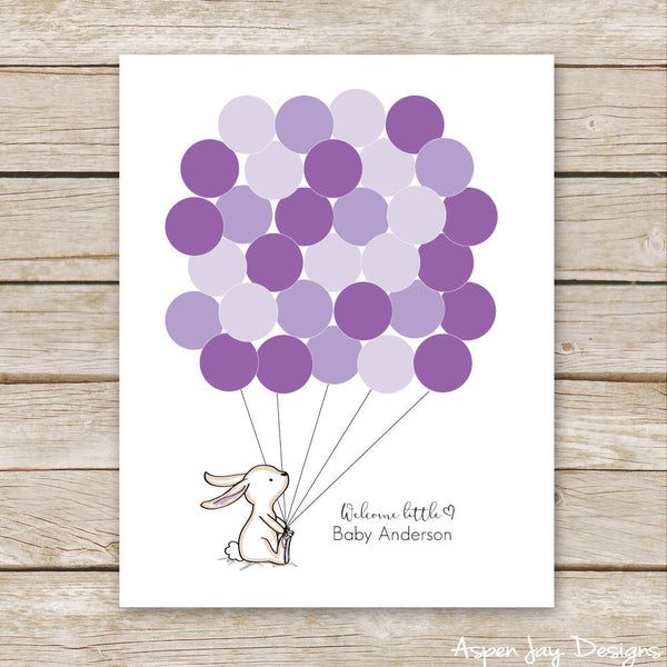 Purple Bunny Balloon Guest Book