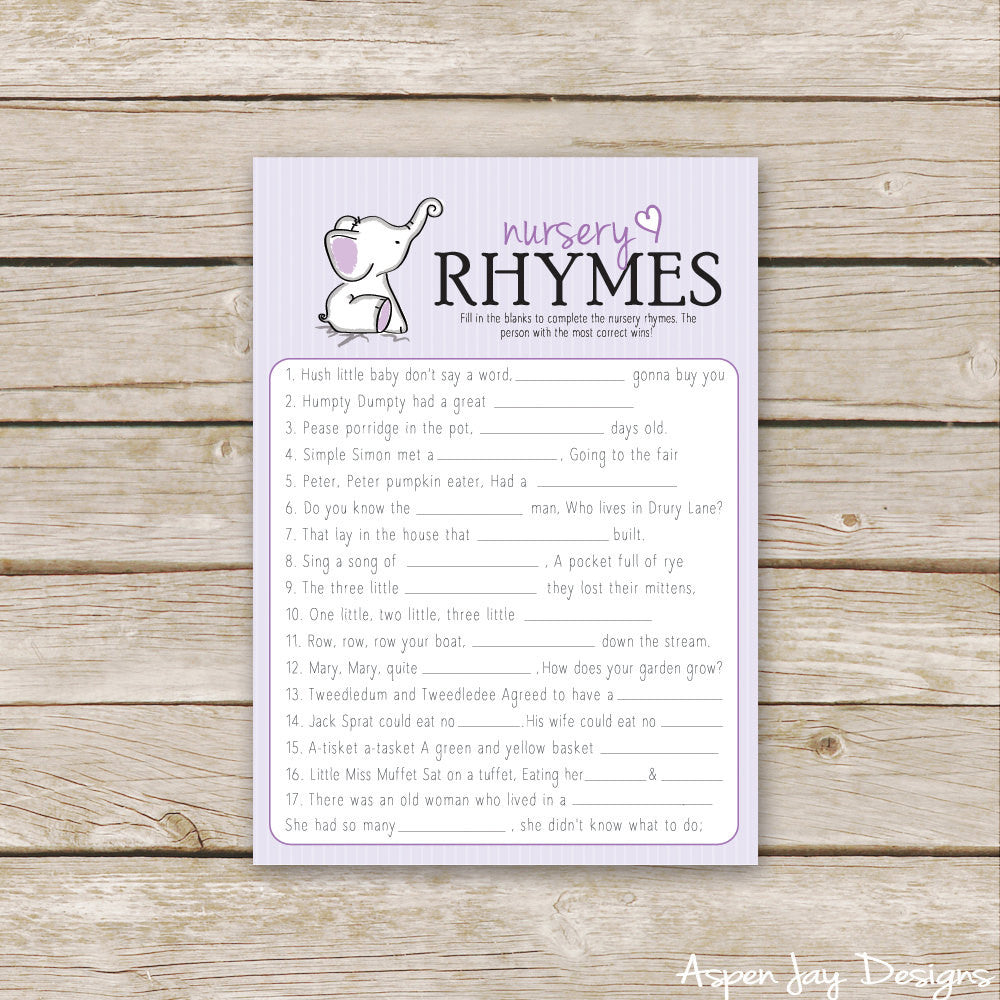 Purple Elephant Nursery Rhymes