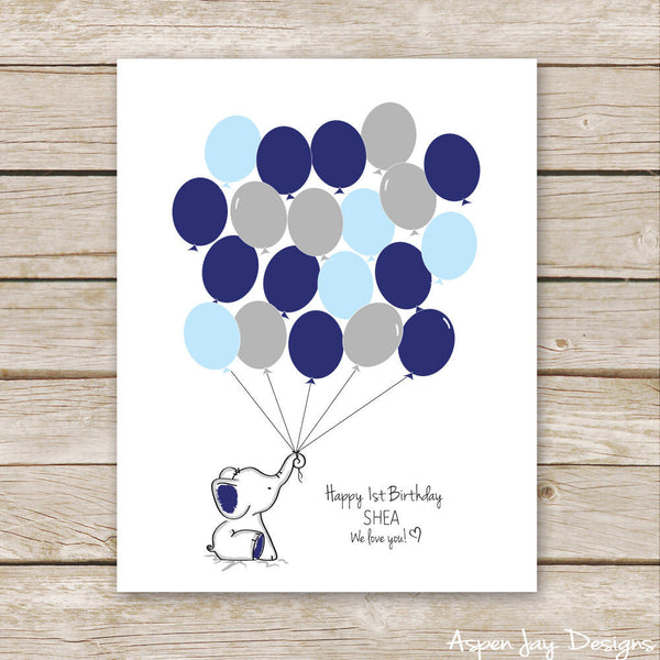 Navy Elephant Balloon Guest Book