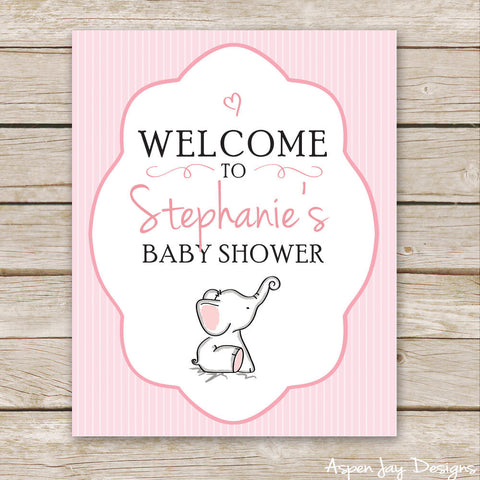 Pink Elephant Shower Welcome Sign
