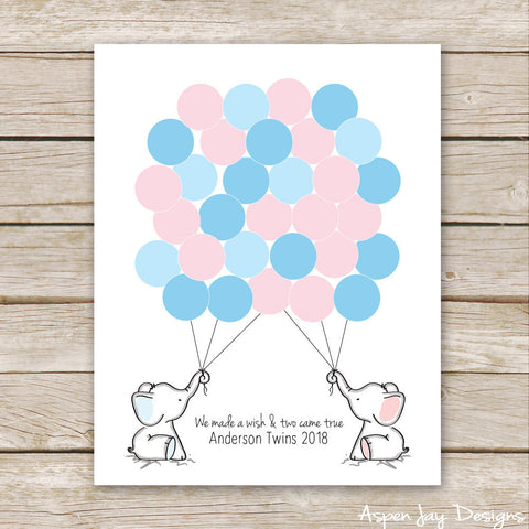 TWIN Blue & Pink Elephant Guest Book