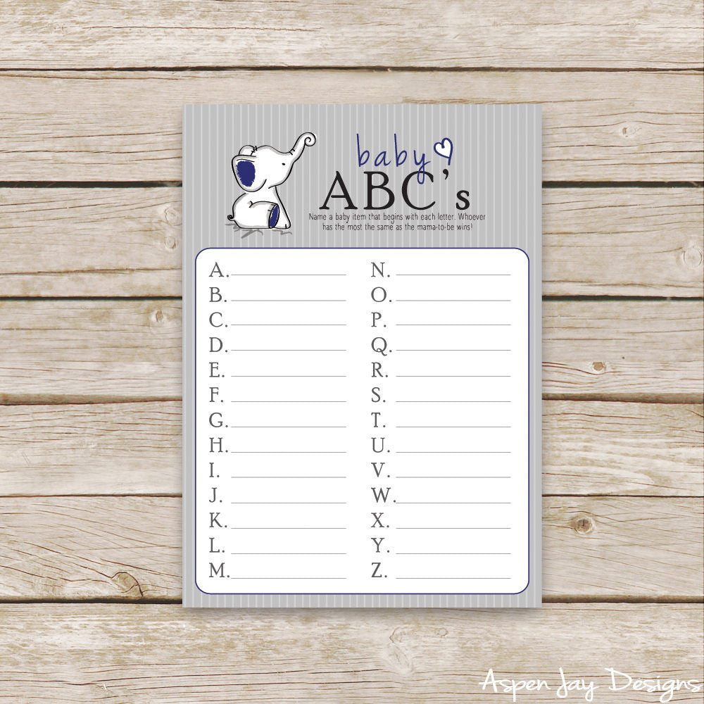 Navy Elephant Baby ABC's
