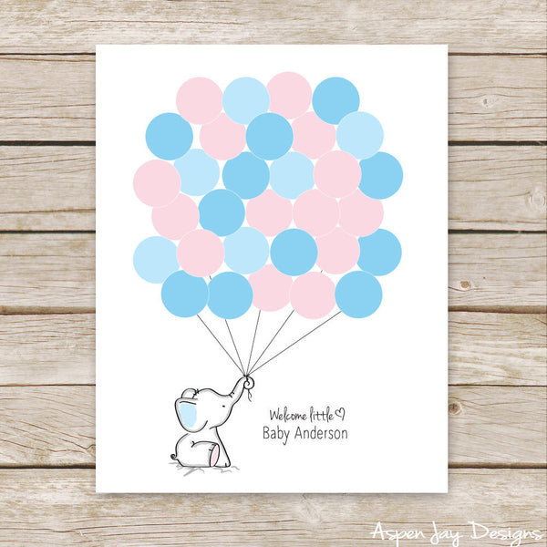 Pink or Blue Elephant Guest Book