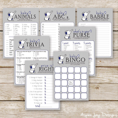 Navy Elephant 7 Baby Shower Games Package