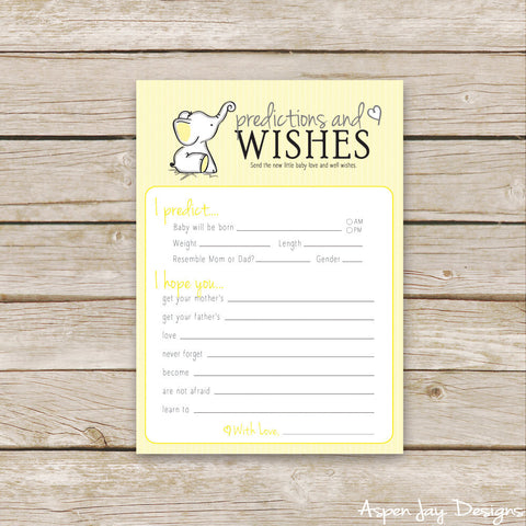 Yellow Elephant Predictions & Wishes for Baby