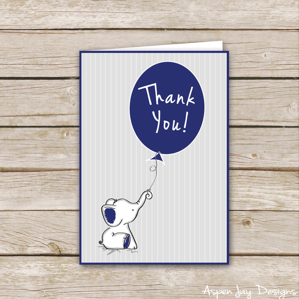 Navy Elephant Thank You Cards