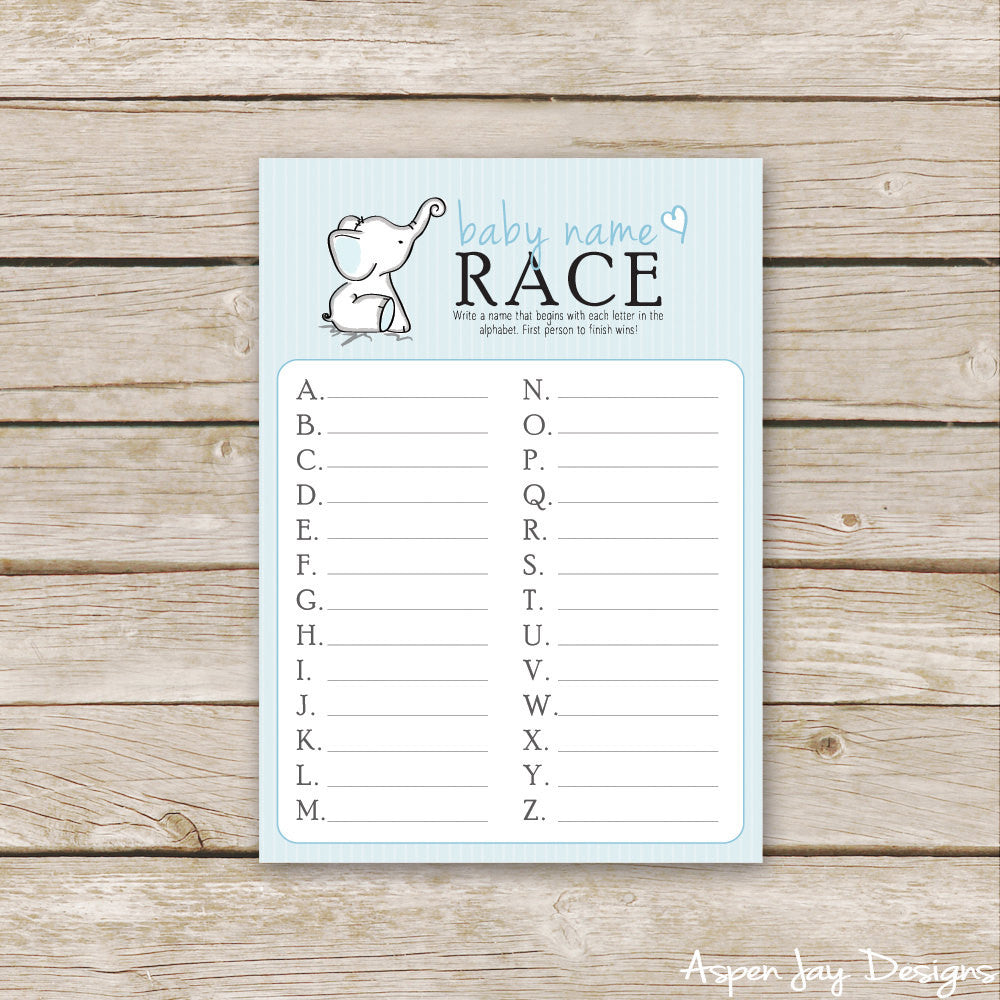 Blue Elephant Baby Name Race