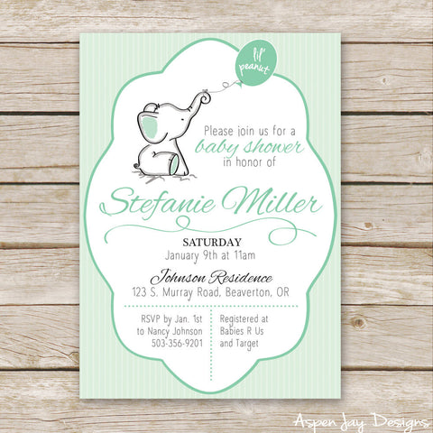 Green Elephant Baby Shower Invites