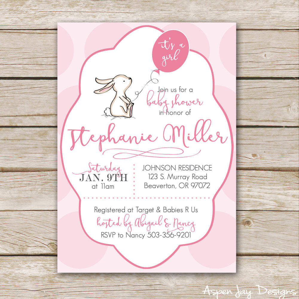 Pink Bunny Baby Shower Invites