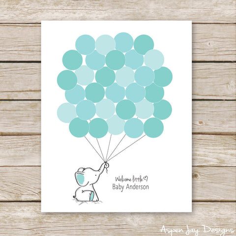 Turquoise Elephant Balloon Guest Book