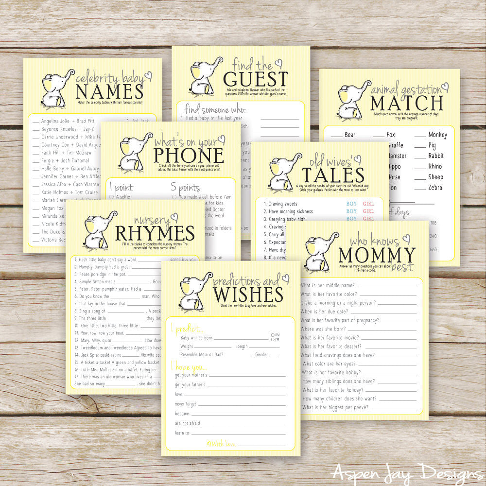 Yellow Elephant 8 Baby Shower Games Package