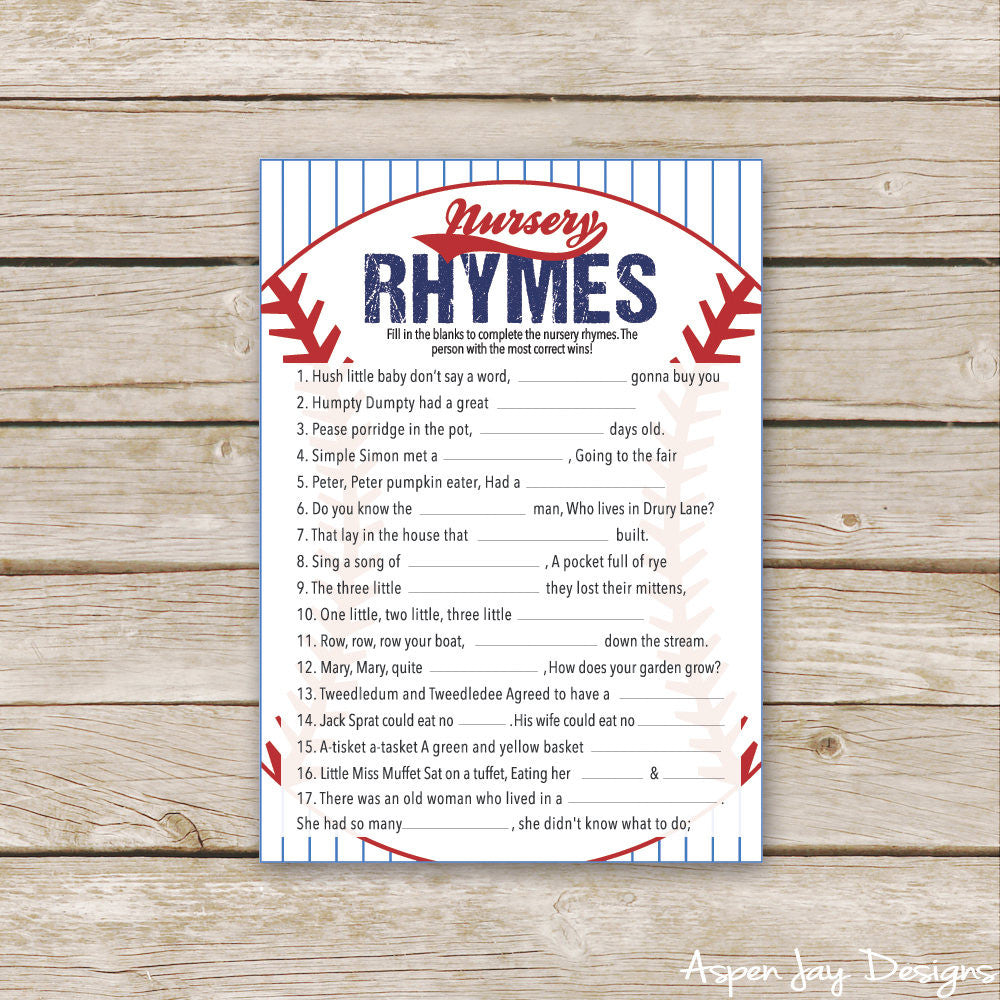 Baseball Nursery Rhymes
